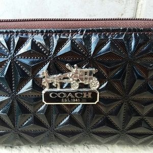 COACH Black Patent Leather Wallet Women's